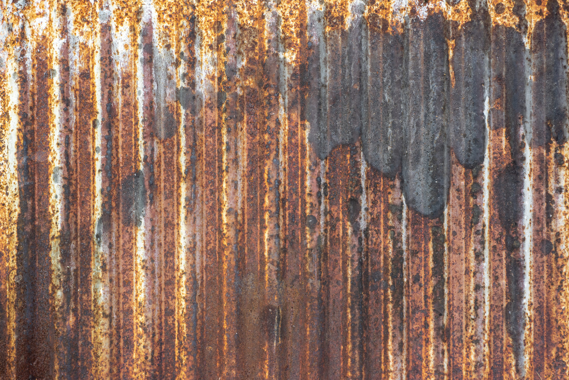 Rusted Metal Sheet Seamless Texture With Vertical Ridges