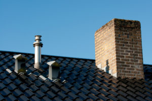 Steel Roof With Ventilation Pipes Flue Terminal And