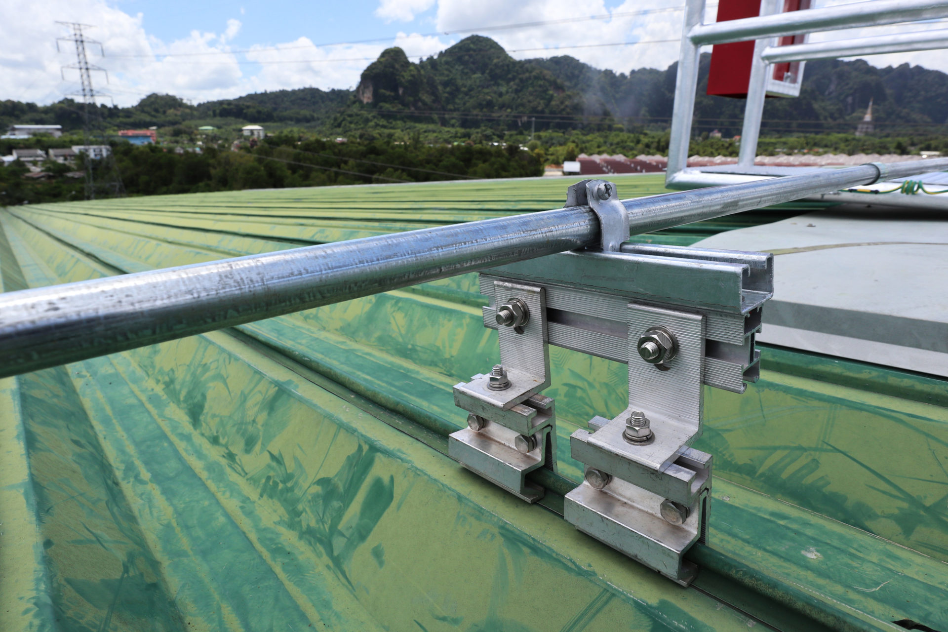 Electrical Conduit With Clamp Installation On Metal Sheet